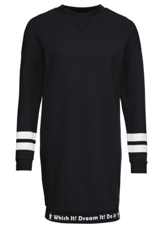 Sukienka dresowa z ozdobnym napisem bonprix czarno-biały
