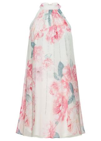 Sukienka z nadrukiem i cekinami bonprix turkusowo-jasnoróżowy w kwiaty