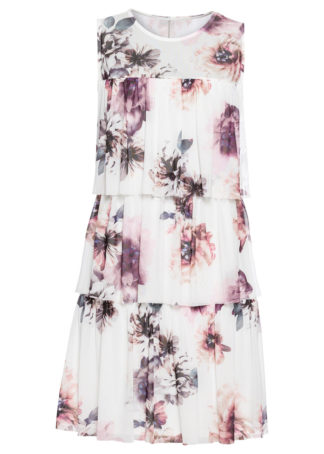 Sukienka z siatkową wstawką z nadrukiem bonprix biel wełny w kwiaty