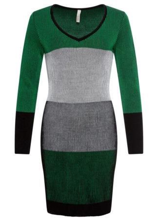Sukienka dzianinowa bonprix szaro-zielony w paski