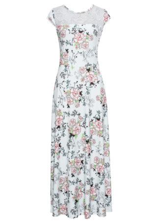 Długa sukienka bonprix biały w kwiaty