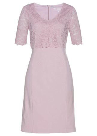 Sukienka z koronką bonprix matowy jasnoróżowy