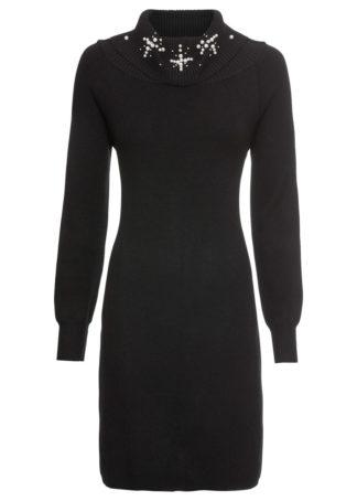 Sukienka dzianinowa z aplikacją bonprix czarny