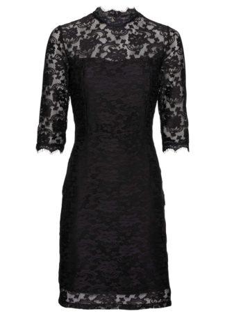 Sukienka shirtowa z koronką bonprix czarny