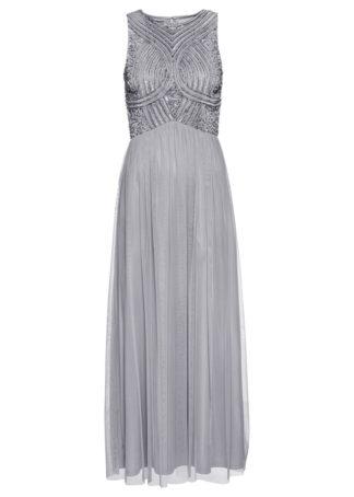 Długa sukienka z perełkową aplikacją bonprix szary
