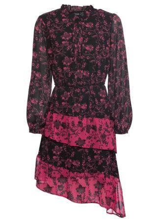 Sukienka z nadrukiem i falbanami: MUST HAVE bonprix czarno-różowa magenta wzorzysty