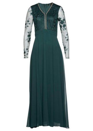 Długa sukienka wieczorowa bonprix niebieskozielony