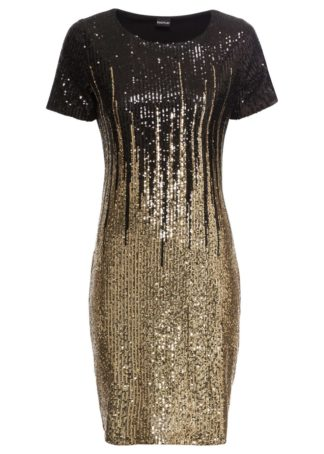 Sukienka z cekinami bonprix czarno-złoty