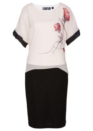 Sukienka bonprix beżowo-czarno-jasnoróżowy z nadrukiem