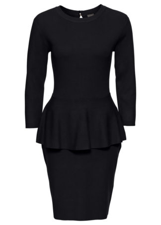 Sukienka dzianinowa z baskinką bonprix czarny