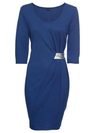 Sukienka z dżerseju z aplikacją bonprix kobaltowo-srebrny