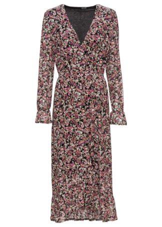 Sukienka midi z założeniem kopertowym bonprix czarny w kwiaty