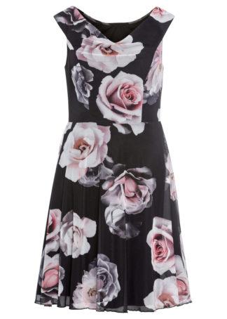 Sukienka z siatkową wstawką z nadrukiem bonprix czarny w kwiaty