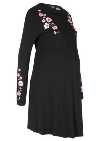 Sukienka ciążowa z dżerseju bonprix czarny w kwiaty