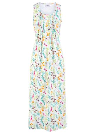 Sukienka midi z dżerseju bonprix biały w kwiaty