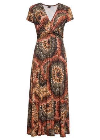 Długa sukienka z dżerseju z nadrukiem bonprix brązowo-oliwkowy z nadrukiem