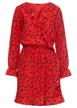 Sukienka z efektem założenia kopertowego  z falbanami bonprix czerwony