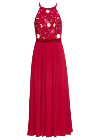 Długa sukienka z haftem bonprix pomarańczowo-czerwony