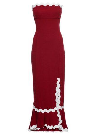 Sukienka z rozporkiem bonprix ciemnoczerwono-biały