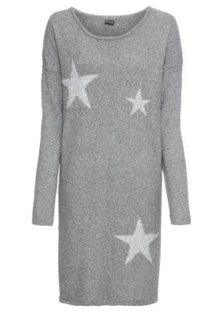 Sukienka dzianinowa w gwiazdy bonprix szary melanż - srebrny