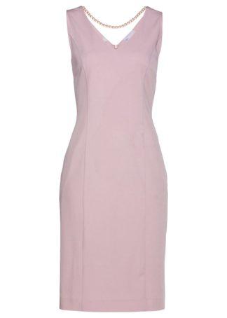 Sukienka ołówkowa z perełkami bonprix matowy jasnoróżowy
