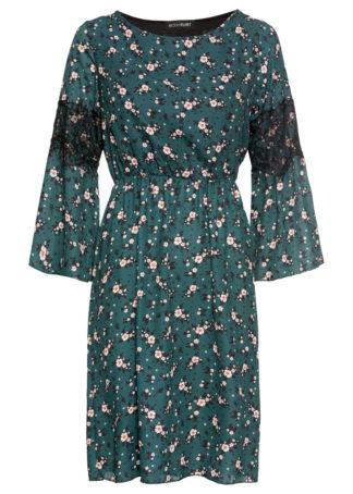 Sukienka z nadrukiem i koronką bonprix ciemnozielony w kwiaty