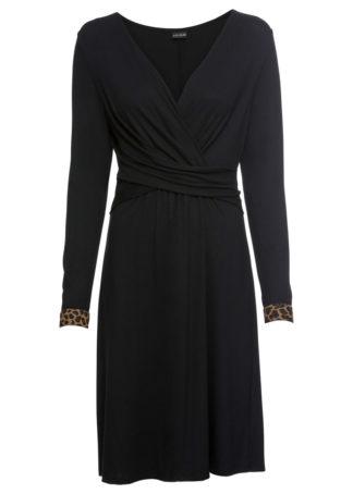 Sukienka z założeniem kopertowym bonprix czarny