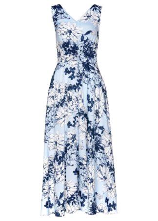 Sukienka maxi bonprix pudrowy niebieski z nadrukiem