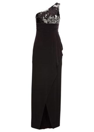 Sukienka wieczorowa z cekinami bonprix czarno-srebrny