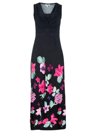 Długa sukienka z dżerseju bonprix czarny w kwiaty