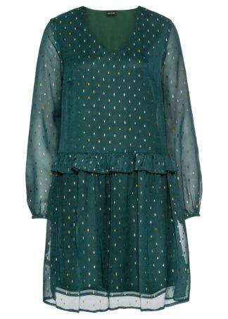 Sukienka szyfonowa bonprix niebieskozielony metaliczny