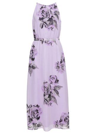 Długa sukienka bonprix fiołkowy bez z nadrukiem