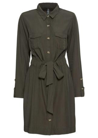 Sukienka szmizjerka bonprix głęboki oliwkowy