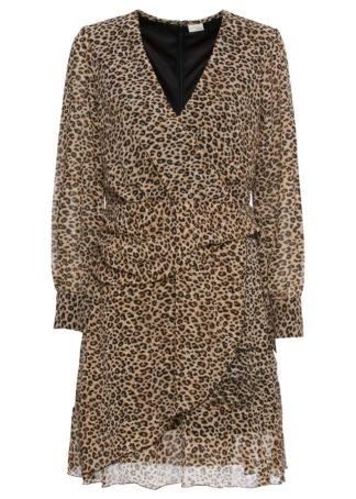 Sukienka szyfonowa bonprix w cętki leoparda