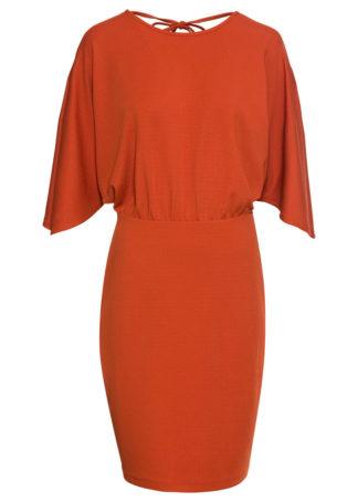 Sukienka z krepy z dżerseju bonprix rdzawobrązowy