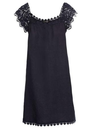 Sukienka lniana z koronką bonprix ciemnoniebieski