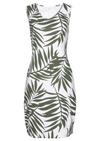 Sukienka shirtowa bonprix oliwkowo-biały z nadrukiem