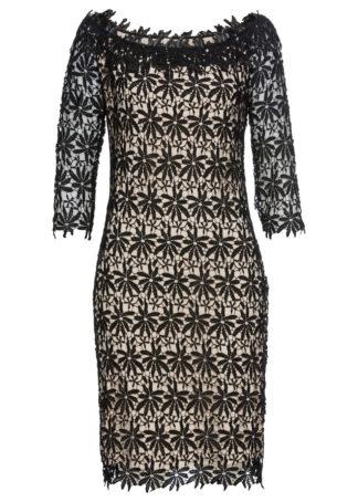 Sukienka bonprix czarno-jasnobrązowy