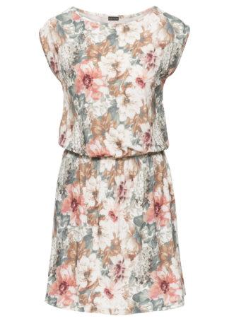 Sukienka z dżerseju bonprix jasnoróżowo-szary z nadrukiem