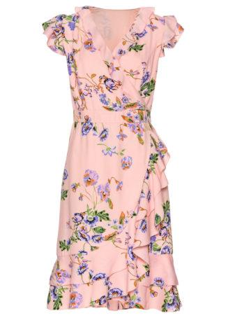Sukienka z nadrukiem i falbanami bonprix bladoróżowy z nadrukiem