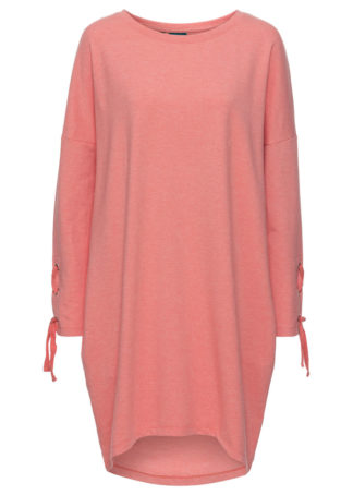 Sukienka dresowa ze sznurowaniem bonprix koralowy melanż