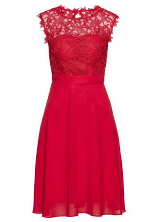 Sukienka z koronką bonprix czerwony