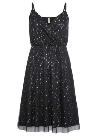Sukienka z metalicznym nadrukiem bonprix czarno-srebrny kolor