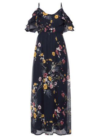 Długa sukienka z odsłoniętymi ramionami