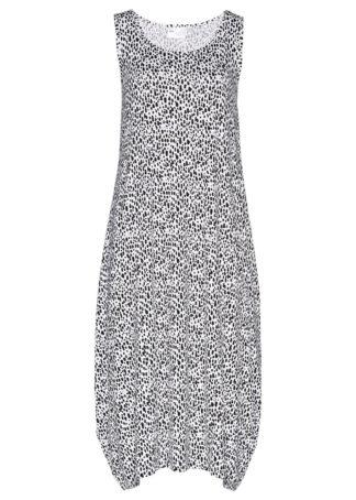 Sukienka midi z dżerseju bonprix biało-czarny z nadrukiem