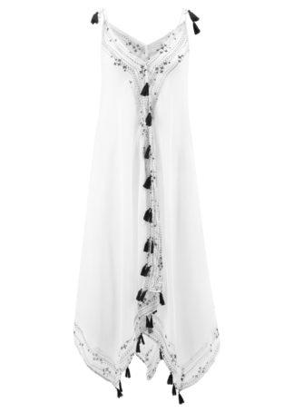 Sukienka plażowa bonprix biało-czarny z nadrukiem