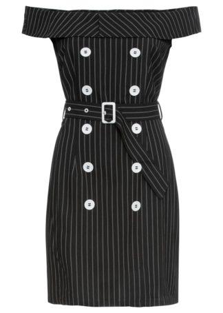 Sukienka z dekoltem carmen bonprix czarno-biały w paski