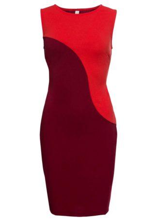 Sukienka biznesowa bonprix ciemnopomarańczowo-bordowy w paski