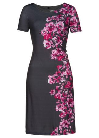 Sukienka shirtowa z nadrukiem bonprix szary - różowa magnolia z nadrukiem