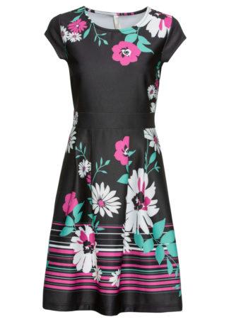 Sukienka w kwiaty bonprix czarno-różowo-zielony